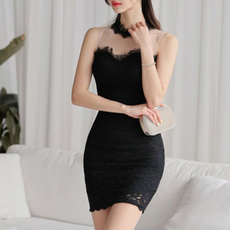 跨境2021韓國夏裝新款網紗蕾絲拼接短裙性感無袖撞色小黑裙短裙
