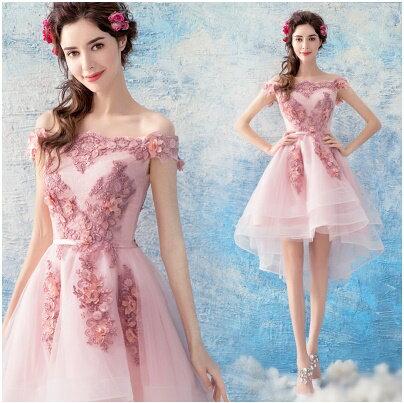 天使嫁衣【AE3601】粉色一字領蕾絲立體花朵前短後長層次感禮服˙預購訂製款