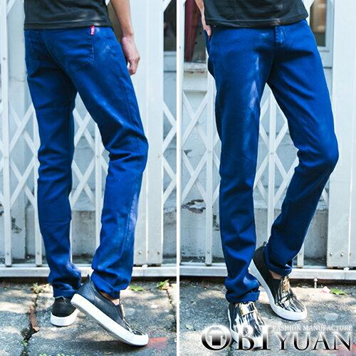 工作褲【P1520】OBI YUAN 韓版專櫃高磅數丹寧布素面彈性休閒牛仔褲共2色