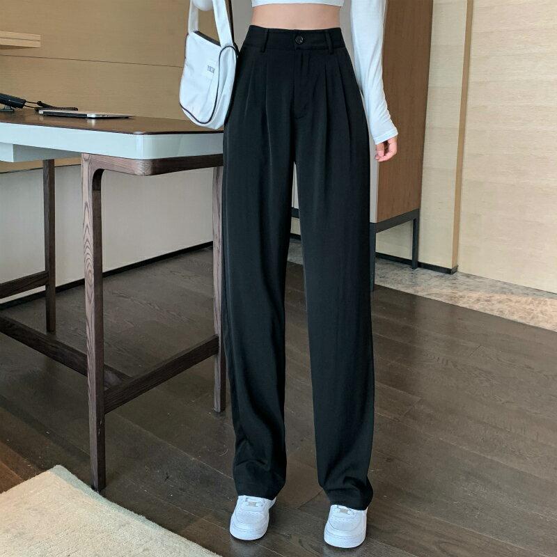 秋季新款西裝直筒闊腿褲寬松高腰顯瘦褲子拖地長褲休閑褲女裝