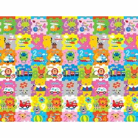 【淘氣寶寶】韓國製 帕龍 爬行地墊 安全無毒防水抗菌 單面無包邊/可以裁切 (PE*200*150*1cm)黃色小熊動物拼圖