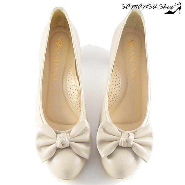 samansa莎曼莎手工鞋:[SAMANSA]台灣製完美腿型大蝴蝶結飾中跟鞋#14302優雅米