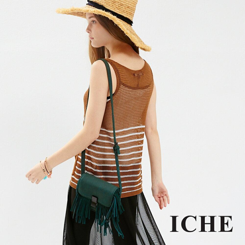 ICHE 衣哲 針織細肩微透膚造型上衣