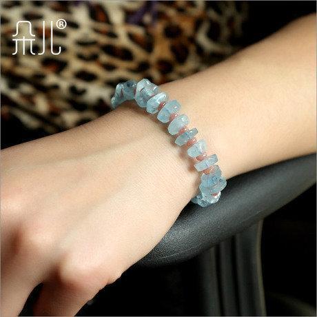 水晶手鏈 海藍寶手鏈 藍水晶 罕見不定型