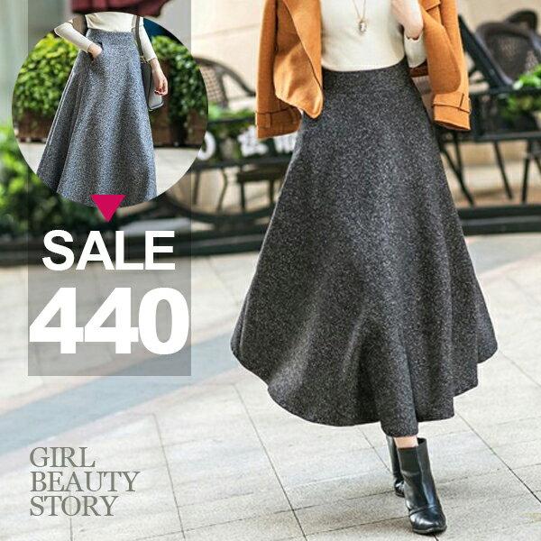 SISI【P7005】英倫復古風高腰中長款傘襬長裙加厚羊毛呢A字裙半身裙