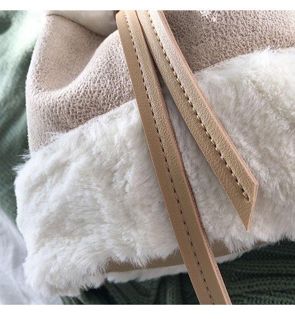 韓版可愛毛毛手提包迷你水桶包復古撞色單肩包斜背包 9