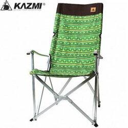 【【蘋果戶外】】KAZMI K3T3C025GN 綠 印地安民族風圖騰鋁合金高背豪華休閒折疊椅/人體工學/耐重80kg/附收納袋/涼爽折合椅/樹下乘涼椅/老人