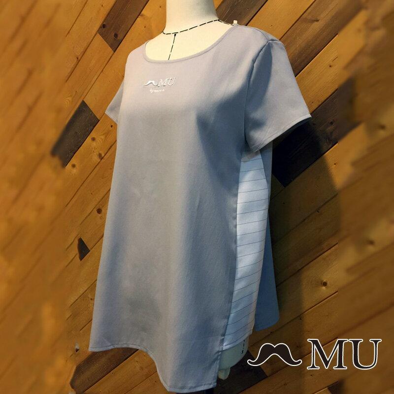 【MU】素面簡約LOGO條紋側拼接上衣(2色)7323168 6