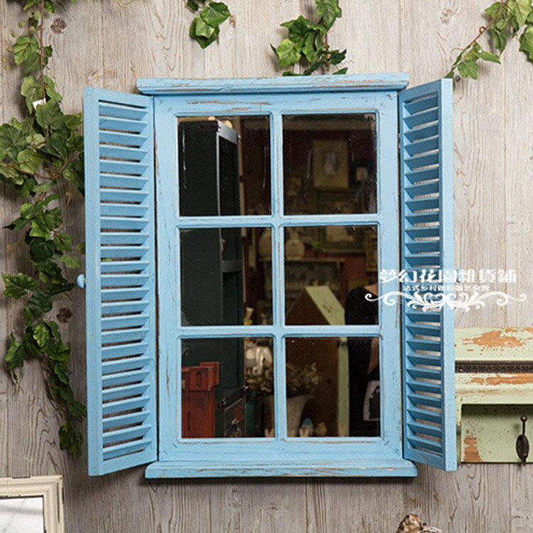 法式鄉村做舊復古假窗壁掛壁飾 酒吧咖啡店擺件園藝雜貨1入