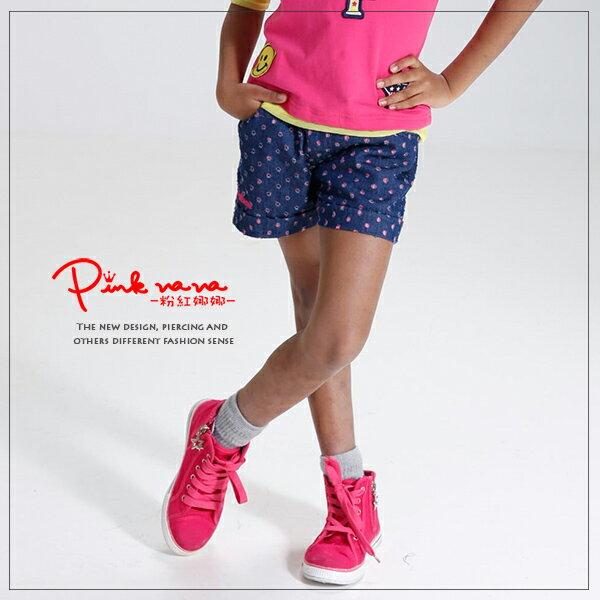 Pink Nana:粉紅娜娜童裝女童夏季桃色洞洞牛仔褲反摺短褲33135