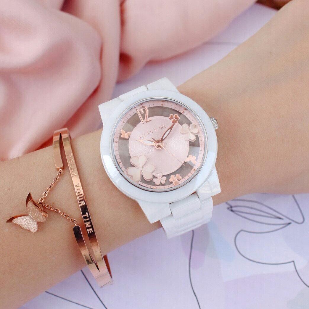►聖誕節禮物◄ RELAX TIME RT-80-3 Garden系列 鏤空陶瓷腕錶 送手環 玫瑰金 38MM 0