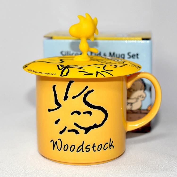 SNOOPY 陶瓷馬克杯 史努比黃色小鳥 矽膠杯蓋 正版 日本製 woodstock 300ml