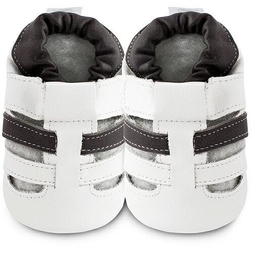 【hella 媽咪寶貝】英國 shooshoos 安全無毒真皮手工鞋/學步鞋/嬰兒鞋 白/黑線條涼鞋 BHWH25 (公司貨)