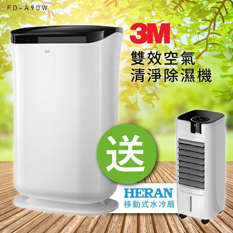 超值送禾聯負離子 HWF-08L1 8公升移動式水冷扇~3M 雙效空氣清淨機+除濕機 FD-A90W(A90) 循環扇/電風扇/除溼機系列