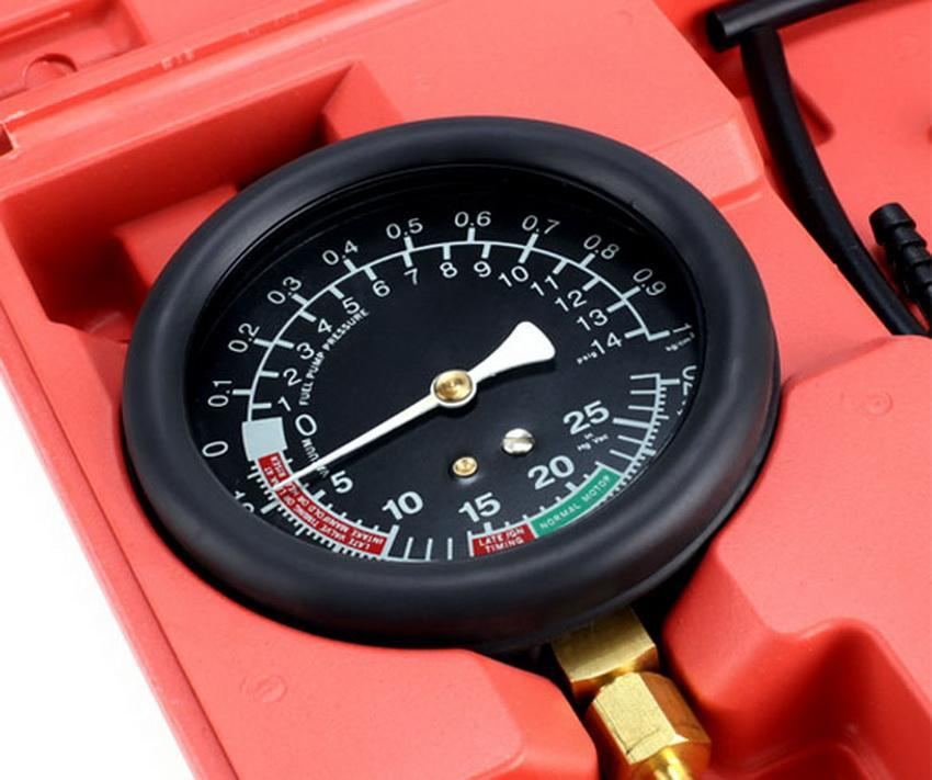 Fuel Pump & Vacuum Tester Gauge Leak Carburetor Pressure Diagnostics w/ Case Red 5
