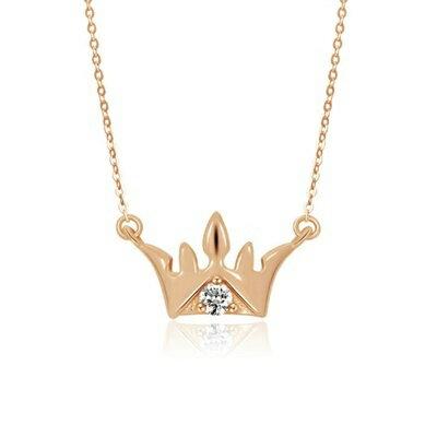 玫瑰金純銀項鍊鑲鑽吊墜~唯美氣質皇冠 母親節情人節生日 女飾品73dk53~ ~~米蘭 ~