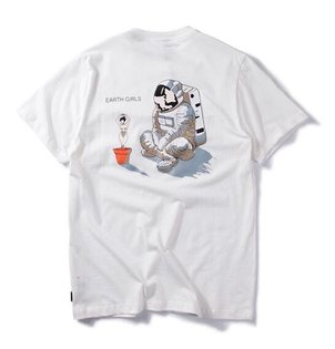 FINDSENSEMD韓國時尚休閒潮男太空人印花個性T恤短袖T恤特色短T