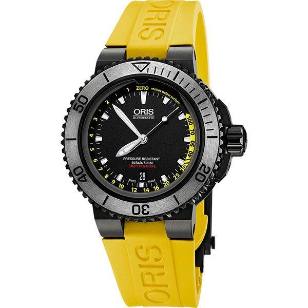 ORIS 豪利時 Aquis Depth Gauge深度測量潛水套錶 0173376754754~SetRS 黑 黃 46mm
