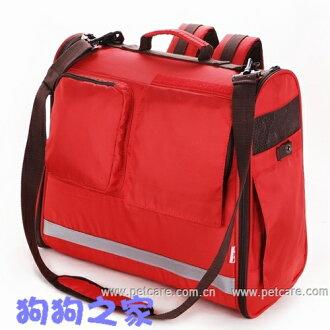 ☆狗狗之家☆日本PET CARE多功能雙肩背寵物外出背袋-紅色(後背,手提,斜背)