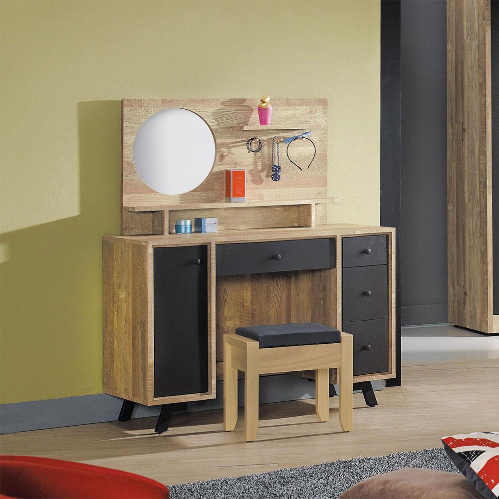 天閣工業風化妝鏡台組(含椅)/H&D東稻家居-消費滿3千送點數10%