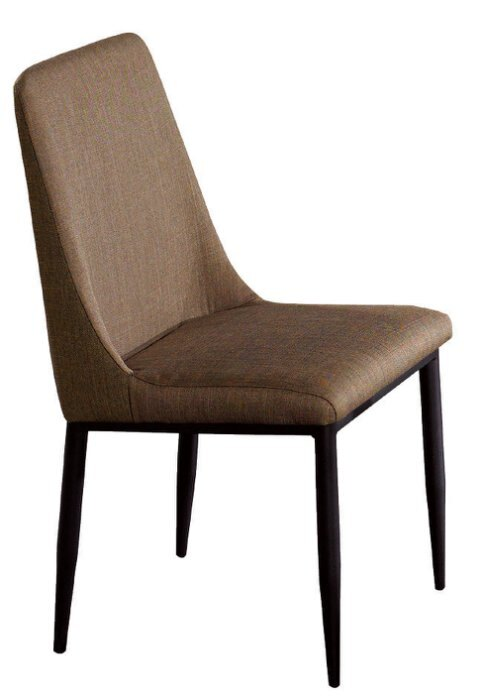~尚品傢俱~JF~985~14 鄧肯黑腳棕色布餐椅