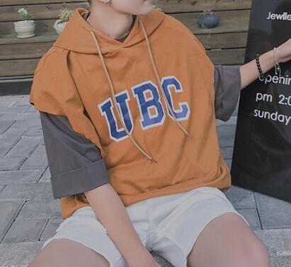 FINDSENSE MD 韓國 潮 男 時尚 寬鬆 純色素面 連帽 UBC字母印花 休閒背心 字母背心 無袖T恤