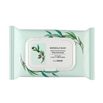 【即期良品】韓國 the SAEM MARSEILLE 橄欖深層卸妝濕巾-40ea MARSEILLE OLIVE Deep Cleansinging Tissue【辰湘國際】