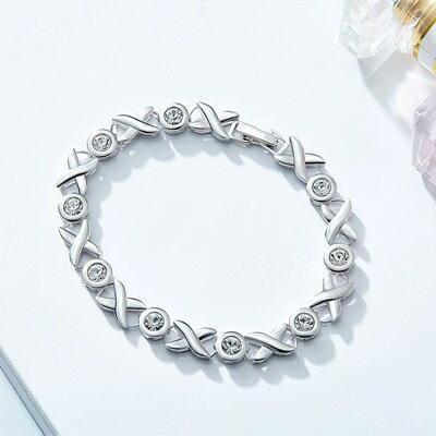 925純銀手鍊水晶手環-簡約符號優雅氣質生日聖誕節情人節禮物女飾品73qh91【獨家進口】【米蘭精品】