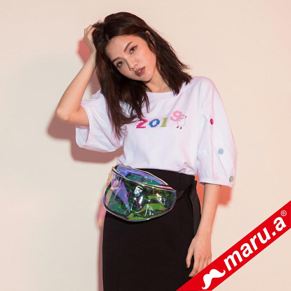 【maru.a】2019miru刺繡鈕扣手袖上衣(2色) 9321215 0