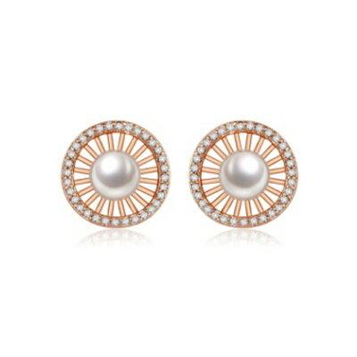 純銀耳環鍍18K金鑲鑽耳飾~ 簡約晚宴 生日情人節 女飾品2色73cr415~ ~~米蘭
