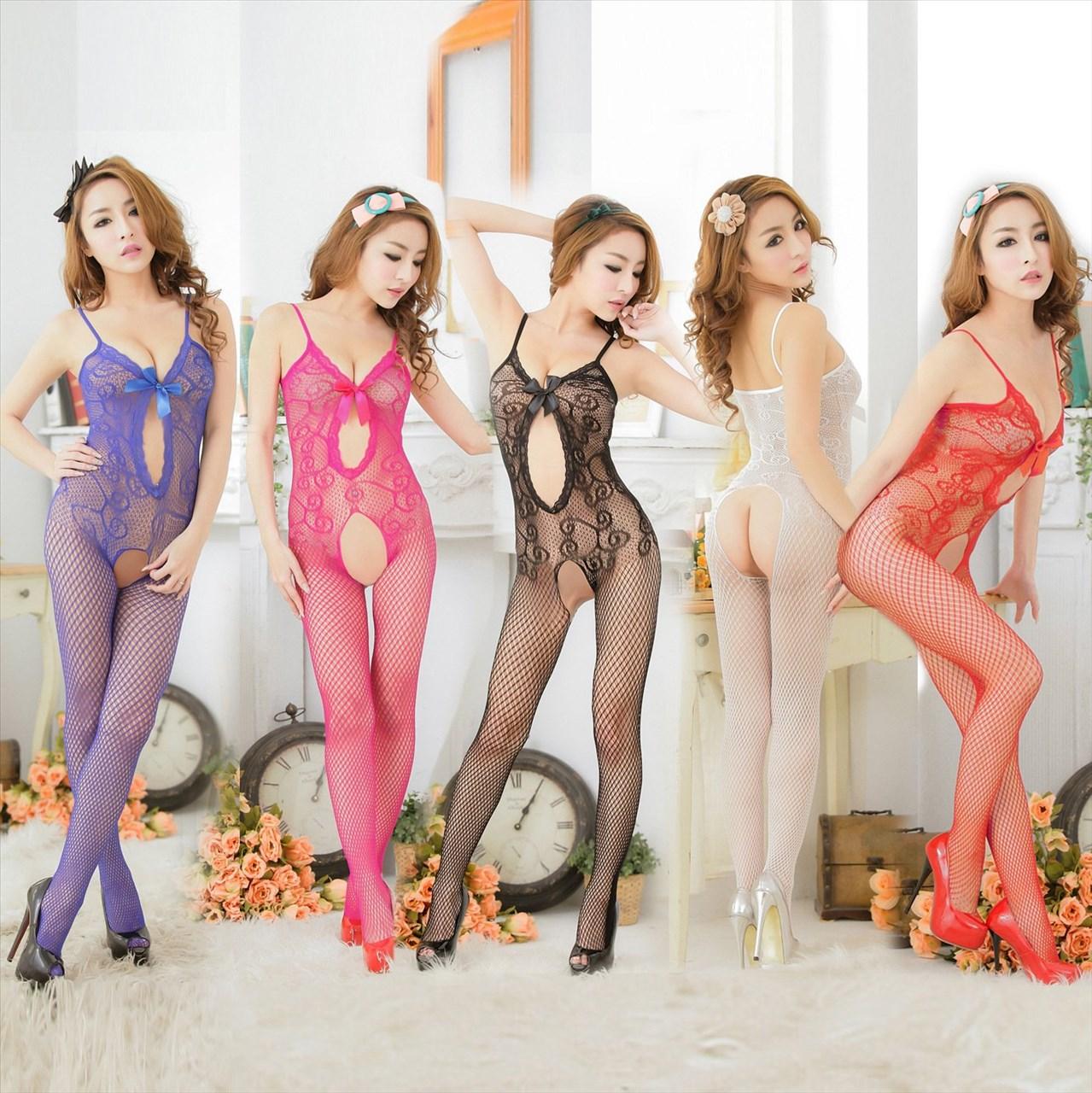 W1228 新款情趣網衣 性感蕾絲鑲邊吊帶前鏤空 螺紋提花連身絲襪貓裝網衣