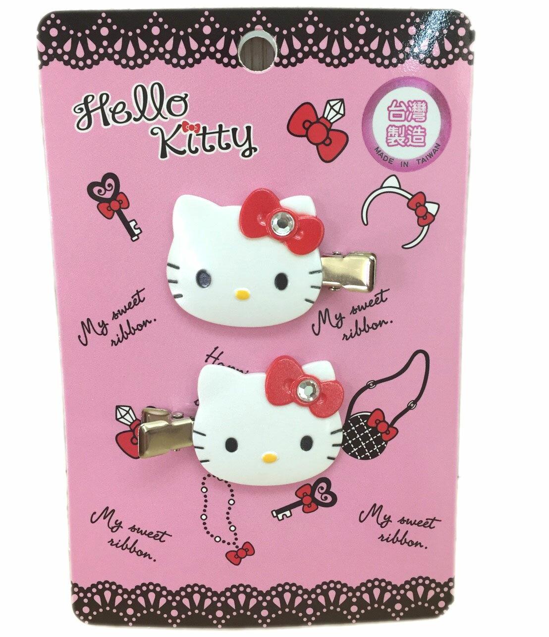【真愛日本】16080300016髮前夾-KT大頭鑲鑽紅結三麗鷗 Hello Kitty 凱蒂貓 髮飾 飾品 正品