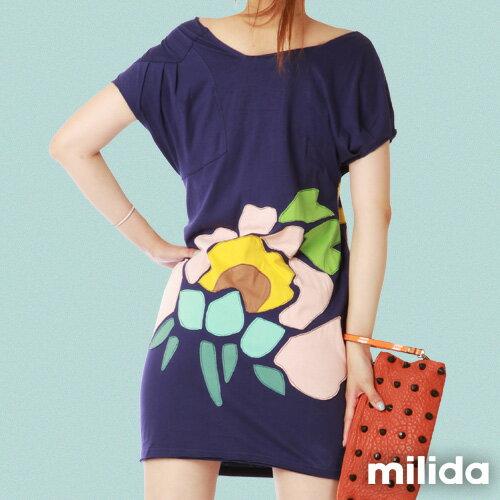 【Milida,全店七折免運】-夏季商品-拼貼款-氣質花卉洋裝 1