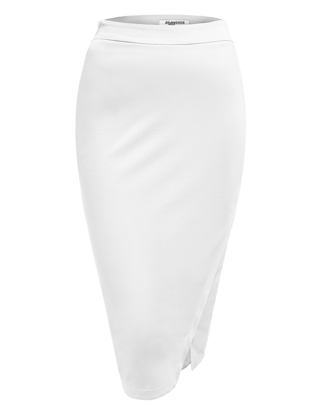 Women High Waist Slim Stretch Side Split Pencil Skirt 4