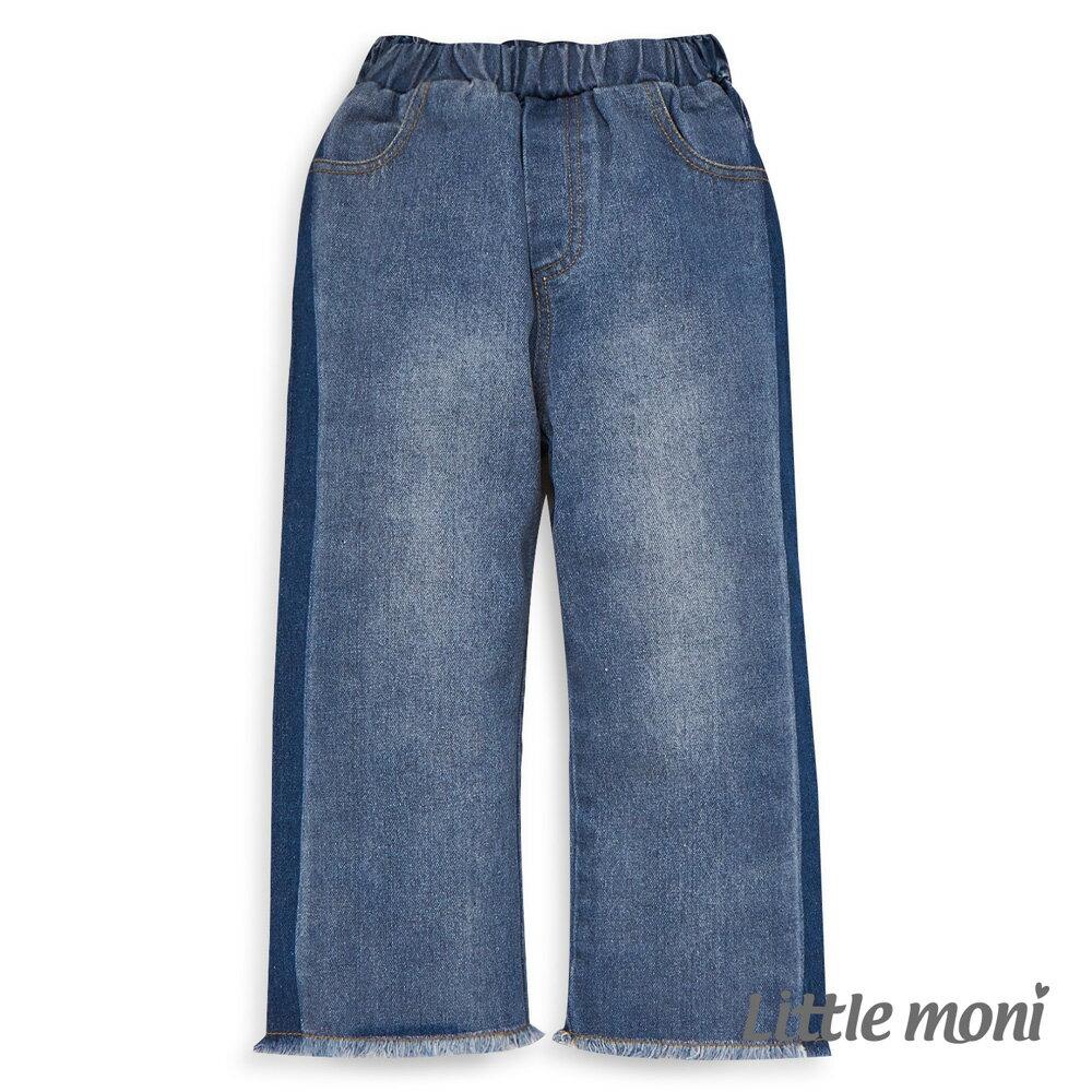 Little moni 牛仔水洗寬褲-牛仔藍 1