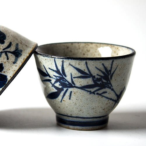 手工粗陶品茗杯仿古青花瓷茶杯手繪陶瓷茶具小杯禪意功夫茶具單杯1入