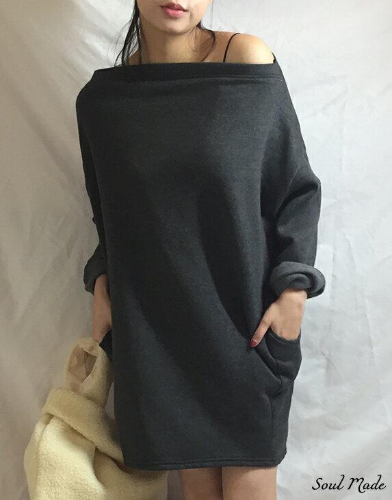 Soul Made - 韓製 平領內刷毛側口袋長版衣 4色 0