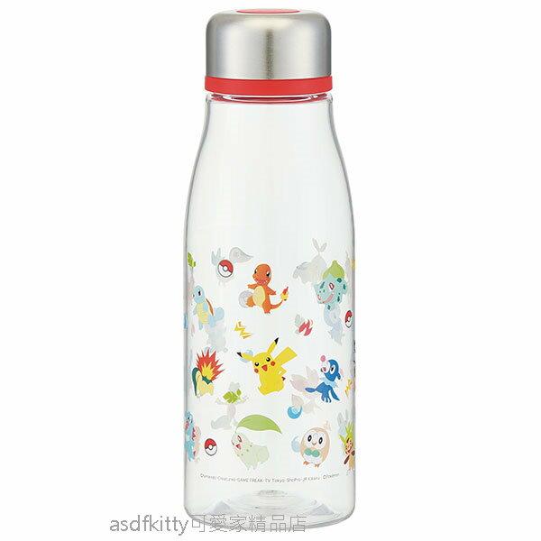 asdfkitty可愛家☆寶可夢 神奇寶貝 皮卡丘全員透明瓶身直飲水壺/隨手瓶-500ML-輕量好攜帶-日本正版商品
