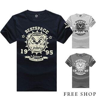 Free Shop【QBMT4881】美式休閒文字造型斑駁鬥牛犬1995印花圓領棉質短袖上衣‧三色 MIT台灣製