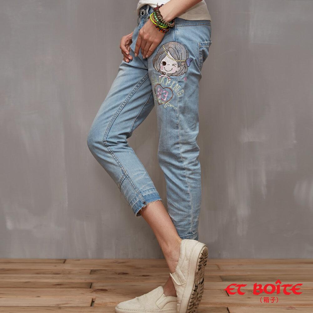ET BOiTE 箱子  ET Amour 浪漫珍珠娃娃3D弧型男友褲(淺藍)   【單筆滿1000結帳再折$100】 - 限時優惠好康折扣