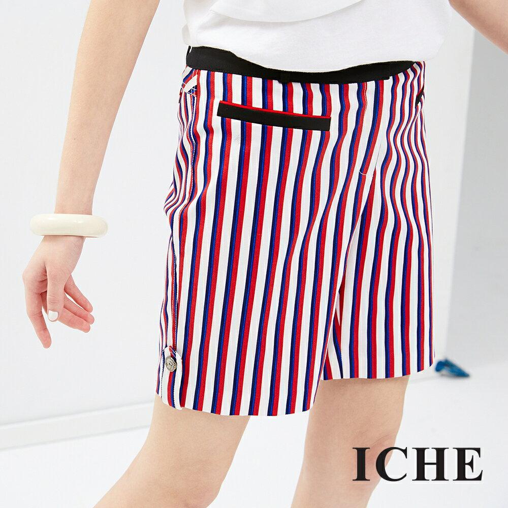 ICHE 衣哲 多色直條紋造型短褲