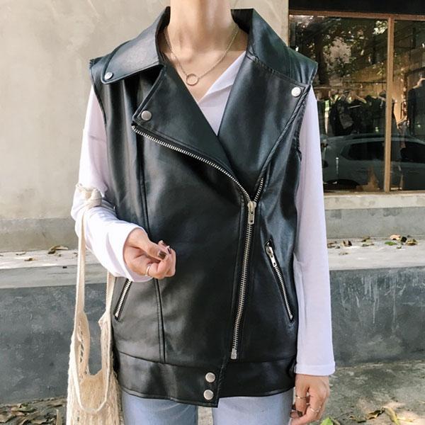 皮衣 背心 帥氣 機車款 黑 大翻領 外套 馬甲 夾克 寬鬆 個性 百搭 仿真皮 韓