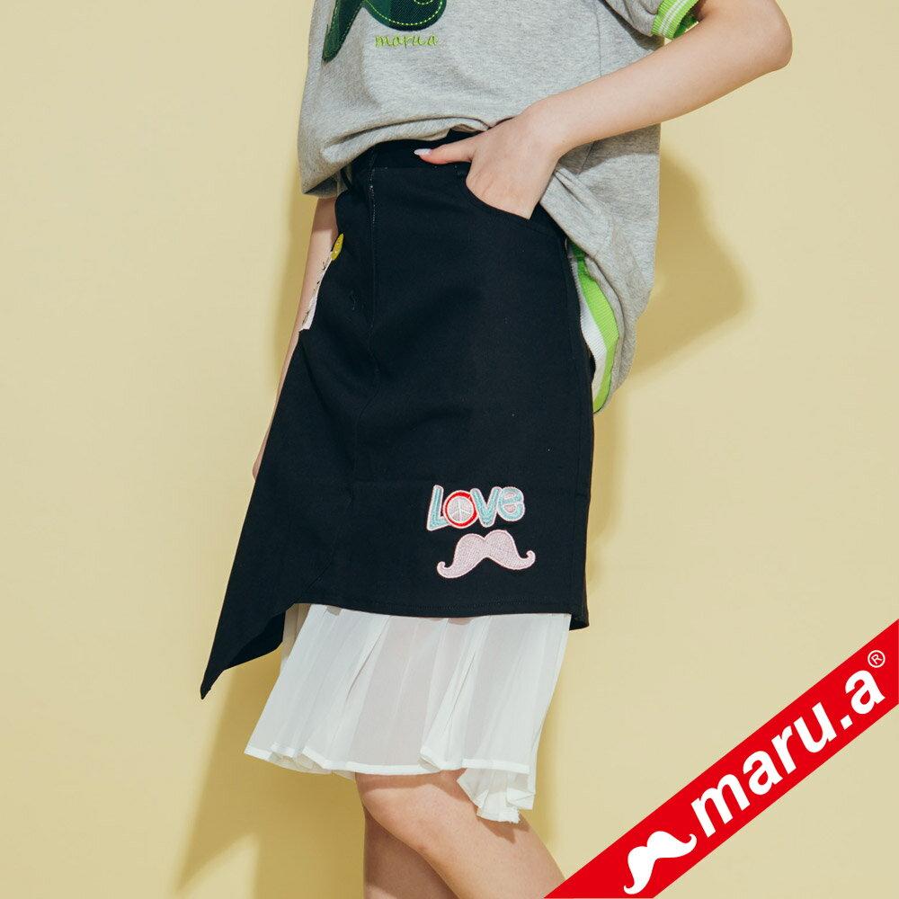 【maru.a】繡花貼布特色拼及膝裙 8316212 1