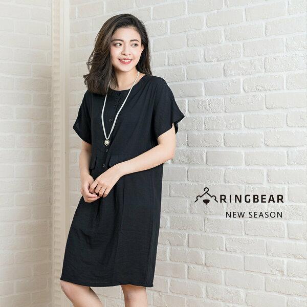 棉麻長洋裝--舒適修身百搭口袋裝飾素面氣質襯衫長版棉麻洋裝(黑XL-3L)-D440眼圈熊中大尺碼