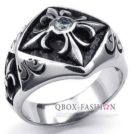 《 QBOX 》FASHION 飾品【W10023542】精緻個性仿舊克羅心十字架鋯石鑄造316L鈦鋼戒指/戒環