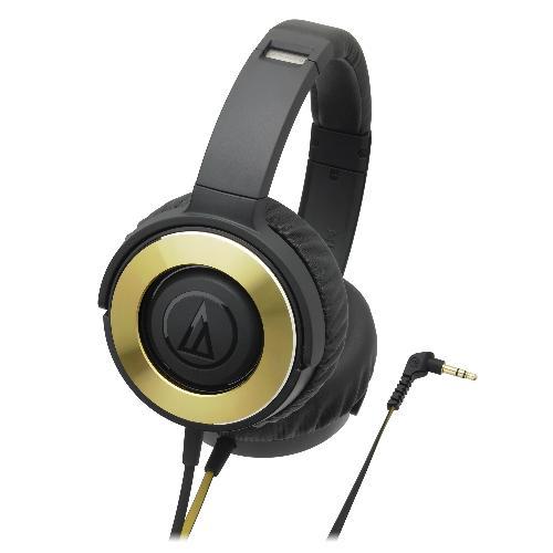 鐵三角SOLID BASS重低音便攜型耳罩式耳機ATH-WS550黑金【愛買】 - 限時優惠好康折扣