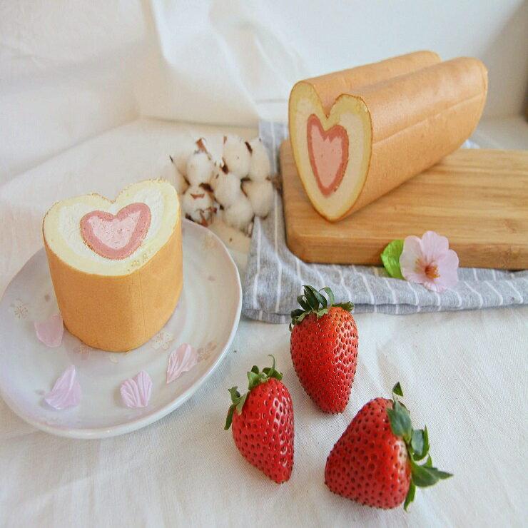 全台獨家【雙心生乳捲】(原味+草莓)組合