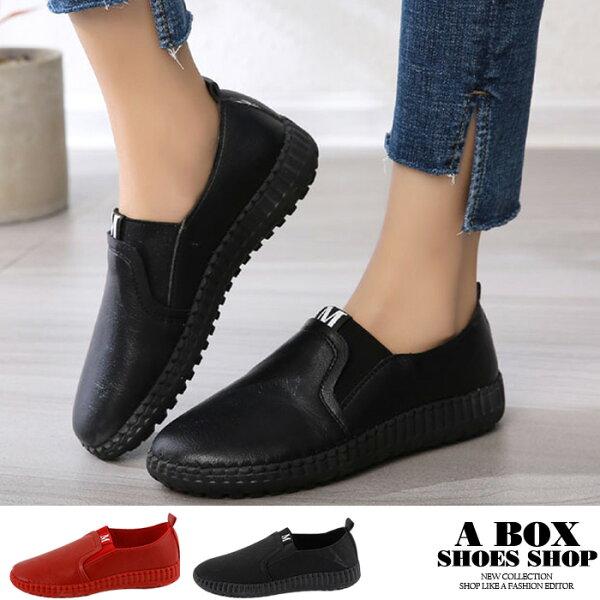 格子舖:【KN8801】懶人鞋休閒鞋3.5CM跟高套腳穿脫簡單百搭素色PU皮革2色