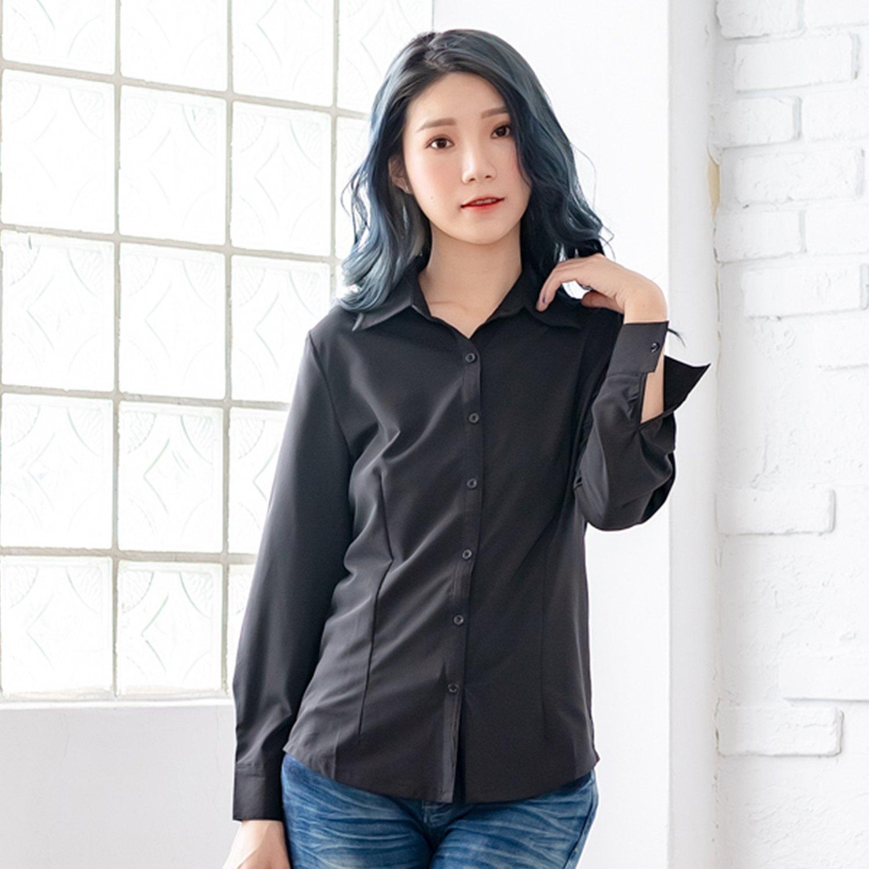 襯衫--百搭實款素面公主線設計長袖襯衫(白.黑.灰M-5L)-I161眼圈熊中大尺碼 0