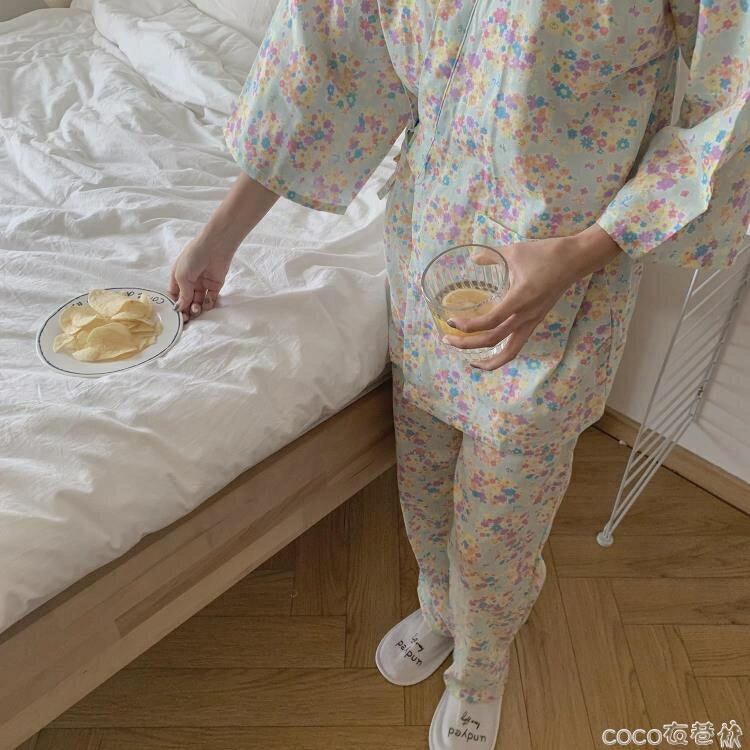 和服 馨幫幫Homedress日系和服碎花家居服套裝睡衣睡褲兩件套女春秋  新店開張全館五折